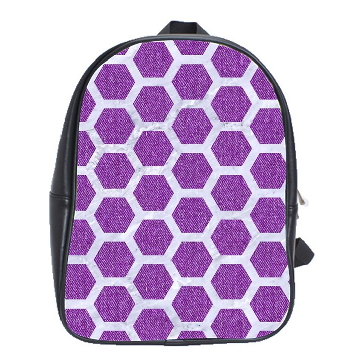 HEXAGON2 WHITE MARBLE & PURPLE DENIM School Bag (Large)