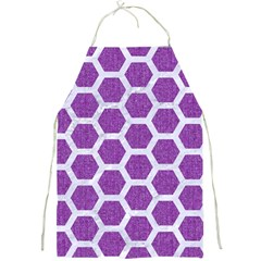 Hexagon2 White Marble & Purple Denim Full Print Aprons