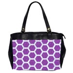 HEXAGON2 WHITE MARBLE & PURPLE DENIM Office Handbags (2 Sides)  Front