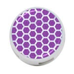HEXAGON2 WHITE MARBLE & PURPLE DENIM 4-Port USB Hub (Two Sides)  Front