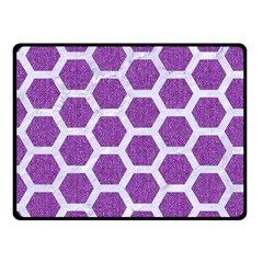 Hexagon2 White Marble & Purple Denim Fleece Blanket (small)