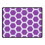 HEXAGON2 WHITE MARBLE & PURPLE DENIM Fleece Blanket (Small) 50 x40 Blanket Front