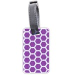 HEXAGON2 WHITE MARBLE & PURPLE DENIM Luggage Tags (Two Sides) Front