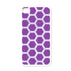 Hexagon2 White Marble & Purple Denim Apple Iphone 4 Case (white) by trendistuff