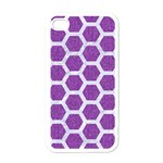 HEXAGON2 WHITE MARBLE & PURPLE DENIM Apple iPhone 4 Case (White) Front