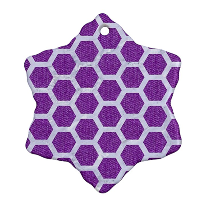 HEXAGON2 WHITE MARBLE & PURPLE DENIM Snowflake Ornament (Two Sides)
