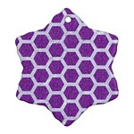 HEXAGON2 WHITE MARBLE & PURPLE DENIM Snowflake Ornament (Two Sides) Back