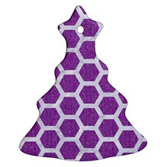 Hexagon2 White Marble & Purple Denim Christmas Tree Ornament (two Sides)
