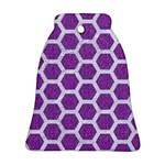 HEXAGON2 WHITE MARBLE & PURPLE DENIM Bell Ornament (Two Sides) Back
