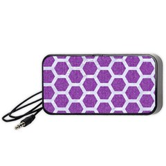 Hexagon2 White Marble & Purple Denim Portable Speaker