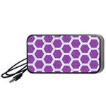 HEXAGON2 WHITE MARBLE & PURPLE DENIM Portable Speaker Front