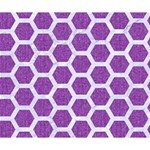 HEXAGON2 WHITE MARBLE & PURPLE DENIM Deluxe Canvas 14  x 11  14  x 11  x 1.5  Stretched Canvas