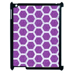 Hexagon2 White Marble & Purple Denim Apple Ipad 2 Case (black) by trendistuff