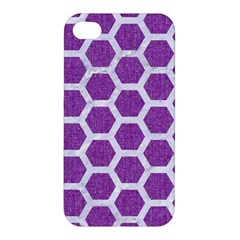 Hexagon2 White Marble & Purple Denim Apple Iphone 4/4s Hardshell Case