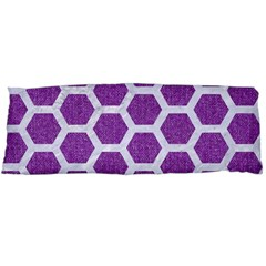 Hexagon2 White Marble & Purple Denim Body Pillow Case Dakimakura (two Sides) by trendistuff