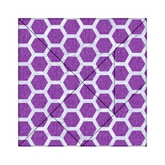 Hexagon2 White Marble & Purple Denim Acrylic Tangram Puzzle (6  X 6 ) by trendistuff