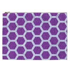 Hexagon2 White Marble & Purple Denim Cosmetic Bag (xxl)