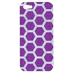 Hexagon2 White Marble & Purple Denim Apple Iphone 5 Hardshell Case by trendistuff