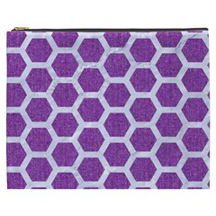 Hexagon2 White Marble & Purple Denim Cosmetic Bag (xxxl)  by trendistuff