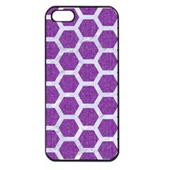 Hexagon2 White Marble & Purple Denim Apple Iphone 5 Seamless Case (black) by trendistuff