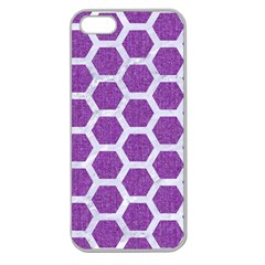 Hexagon2 White Marble & Purple Denim Apple Seamless Iphone 5 Case (clear)