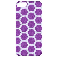 Hexagon2 White Marble & Purple Denim Apple Iphone 5 Classic Hardshell Case by trendistuff