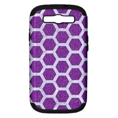 Hexagon2 White Marble & Purple Denim Samsung Galaxy S Iii Hardshell Case (pc+silicone)