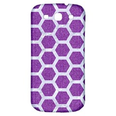Hexagon2 White Marble & Purple Denim Samsung Galaxy S3 S Iii Classic Hardshell Back Case