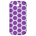 HEXAGON2 WHITE MARBLE & PURPLE DENIM Samsung Galaxy S3 S III Classic Hardshell Back Case Front