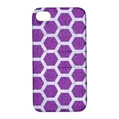 HEXAGON2 WHITE MARBLE & PURPLE DENIM Apple iPhone 4/4S Hardshell Case with Stand
