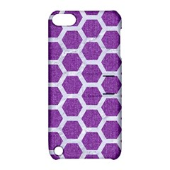 Hexagon2 White Marble & Purple Denim Apple Ipod Touch 5 Hardshell Case With Stand