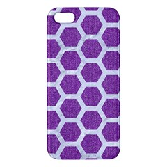 Hexagon2 White Marble & Purple Denim Apple Iphone 5 Premium Hardshell Case by trendistuff