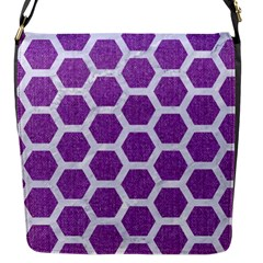 Hexagon2 White Marble & Purple Denim Flap Messenger Bag (s)