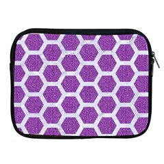 Hexagon2 White Marble & Purple Denim Apple Ipad 2/3/4 Zipper Cases by trendistuff