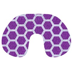 Hexagon2 White Marble & Purple Denim Travel Neck Pillows