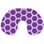 HEXAGON2 WHITE MARBLE & PURPLE DENIM Travel Neck Pillows Front