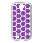 HEXAGON2 WHITE MARBLE & PURPLE DENIM Samsung GALAXY S4 I9500/ I9505 Case (White) Front