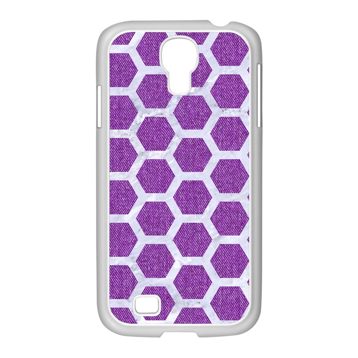 HEXAGON2 WHITE MARBLE & PURPLE DENIM Samsung GALAXY S4 I9500/ I9505 Case (White)