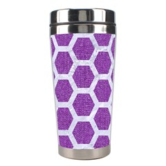 Hexagon2 White Marble & Purple Denim Stainless Steel Travel Tumblers