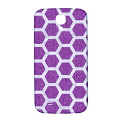Hexagon2 White Marble & Purple Denim Samsung Galaxy S4 I9500/i9505  Hardshell Back Case by trendistuff
