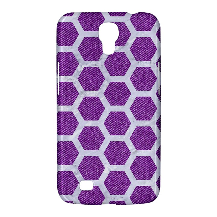 HEXAGON2 WHITE MARBLE & PURPLE DENIM Samsung Galaxy Mega 6.3  I9200 Hardshell Case