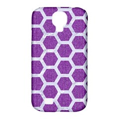 Hexagon2 White Marble & Purple Denim Samsung Galaxy S4 Classic Hardshell Case (pc+silicone)