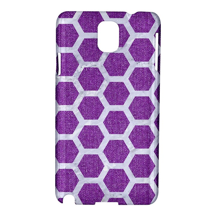 HEXAGON2 WHITE MARBLE & PURPLE DENIM Samsung Galaxy Note 3 N9005 Hardshell Case