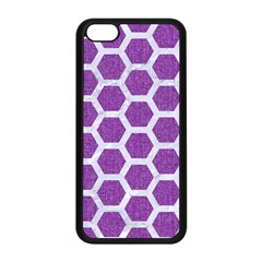 Hexagon2 White Marble & Purple Denim Apple Iphone 5c Seamless Case (black) by trendistuff