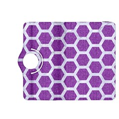 Hexagon2 White Marble & Purple Denim Kindle Fire Hdx 8 9  Flip 360 Case