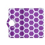 HEXAGON2 WHITE MARBLE & PURPLE DENIM Kindle Fire HDX 8.9  Flip 360 Case Front