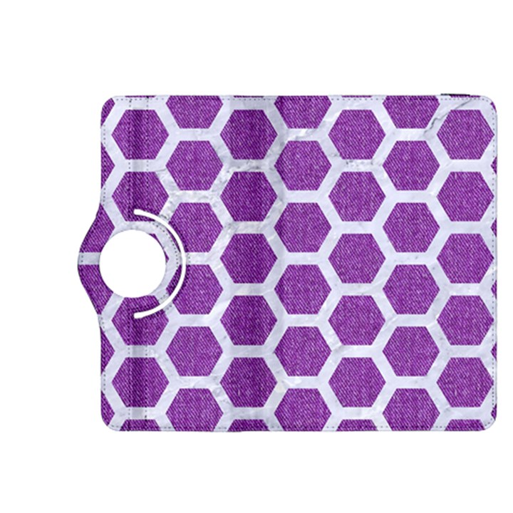 HEXAGON2 WHITE MARBLE & PURPLE DENIM Kindle Fire HDX 8.9  Flip 360 Case