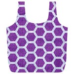 HEXAGON2 WHITE MARBLE & PURPLE DENIM Full Print Recycle Bags (L)  Back