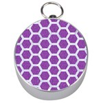 HEXAGON2 WHITE MARBLE & PURPLE DENIM Silver Compasses Front