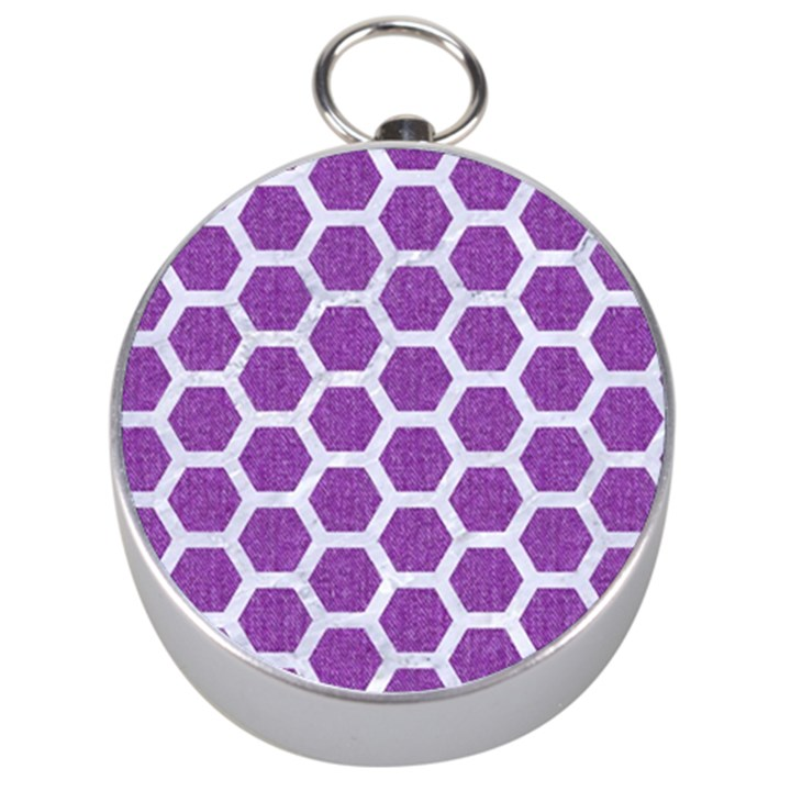 HEXAGON2 WHITE MARBLE & PURPLE DENIM Silver Compasses